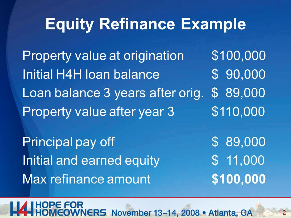 12 Property value at origination $100,000 Initial H4H loan balance $ 90,000 Loan balance 3 years after orig.