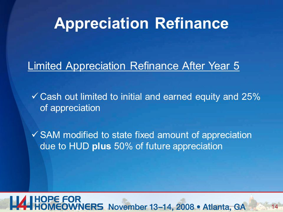 14 Limited Appreciation Refinance After Year 5 Cash out limited to initial and earned equity and 25% of appreciation SAM modified to state fixed amount of appreciation due to HUD plus 50% of future appreciation Appreciation Refinance