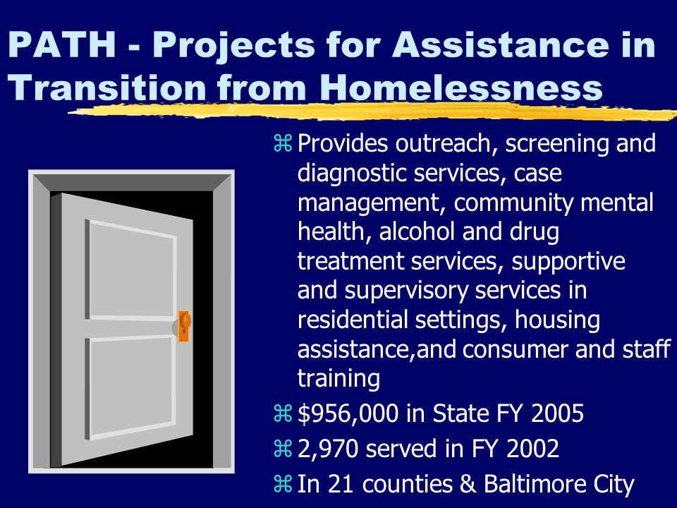 PATH - Projects for Assistance in Transition from Homelessness z Provides outreach, screening and diagnostic services, case management, community mental health, alcohol and drug treatment services, supportive and supervisory services in residential settings, housing assistance,and consumer and staff training z $956,000 in State FY 2005 z 2,970 served in FY 2002 z In 21 counties & Baltimore City