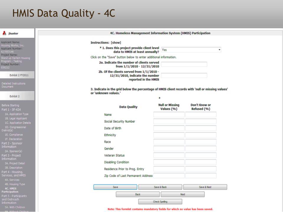 HMIS Data Quality - 4C 19