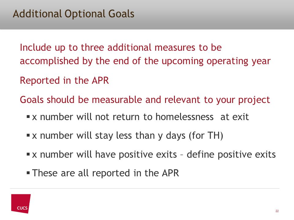Additional Optional Goals Include up to three additional measures to be accomplished by the end of the upcoming operating year Reported in the APR Goals should be measurable and relevant to your project  x number will not return to homelessness at exit  x number will stay less than y days (for TH)  x number will have positive exits – define positive exits  These are all reported in the APR 22
