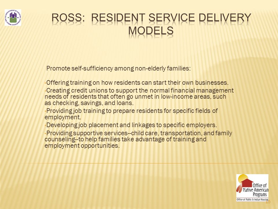 Promote self-sufficiency among non-elderly families: Offering training on how residents can start their own businesses.