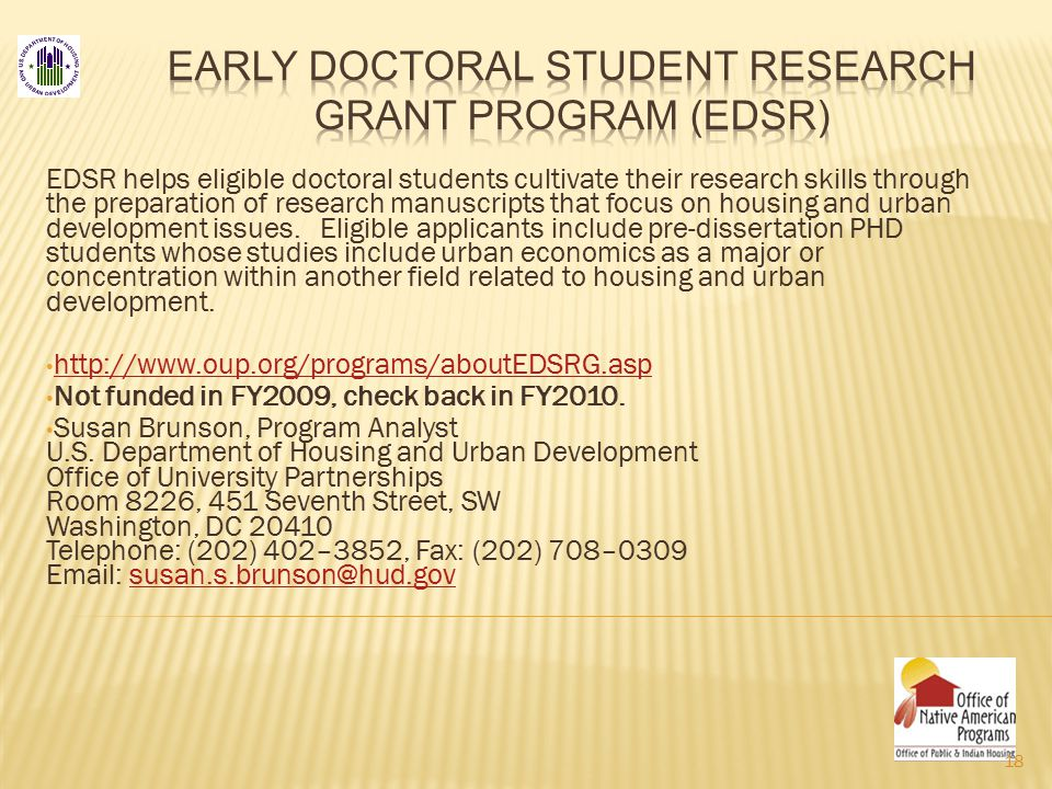 EDSR helps eligible doctoral students cultivate their research skills through the preparation of research manuscripts that focus on housing and urban development issues.