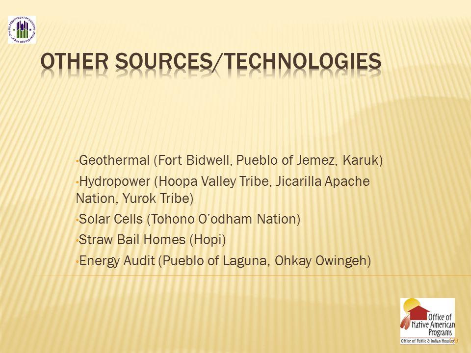 Geothermal (Fort Bidwell, Pueblo of Jemez, Karuk) Hydropower (Hoopa Valley Tribe, Jicarilla Apache Nation, Yurok Tribe) Solar Cells (Tohono O'odham Nation) Straw Bail Homes (Hopi) Energy Audit (Pueblo of Laguna, Ohkay Owingeh) 29