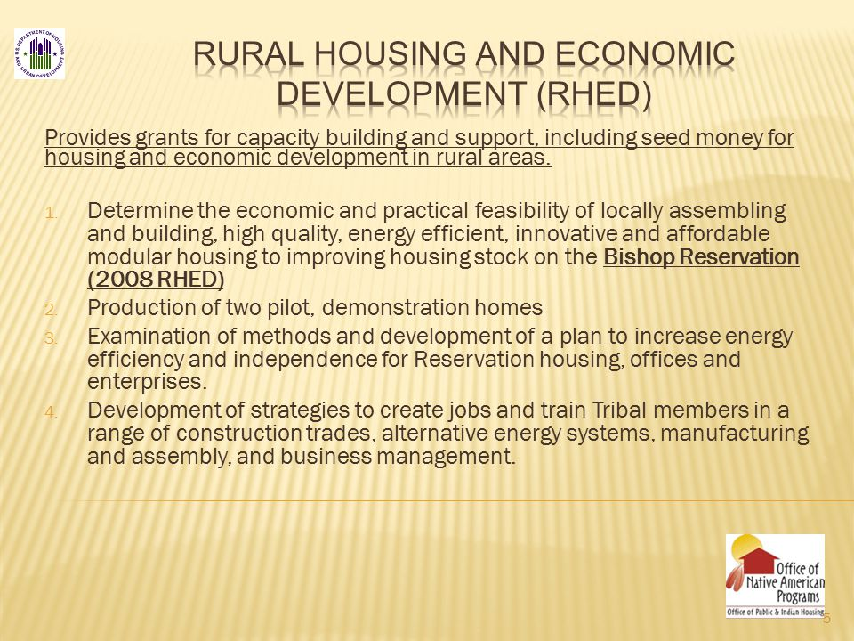 Provides grants for capacity building and support, including seed money for housing and economic development in rural areas.