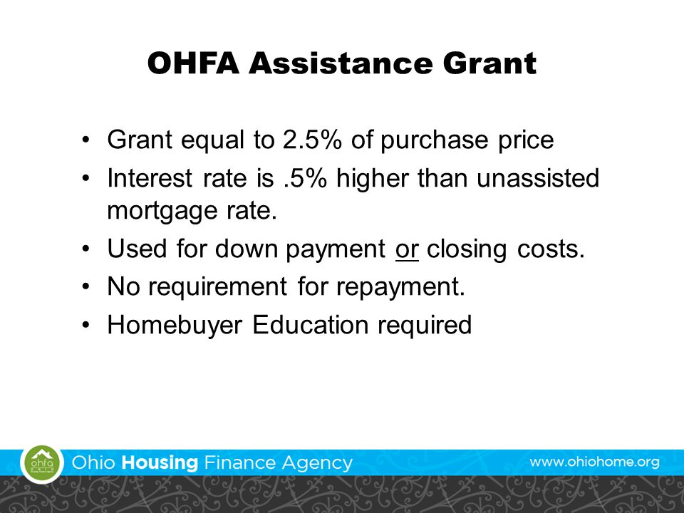 OHFA Assistance Grant Grant equal to 2.5% of purchase price Interest rate is.5% higher than unassisted mortgage rate.