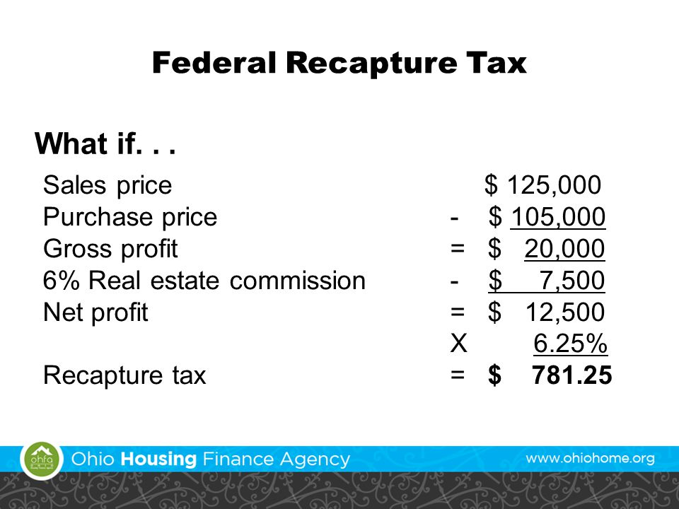 Federal Recapture Tax What if...