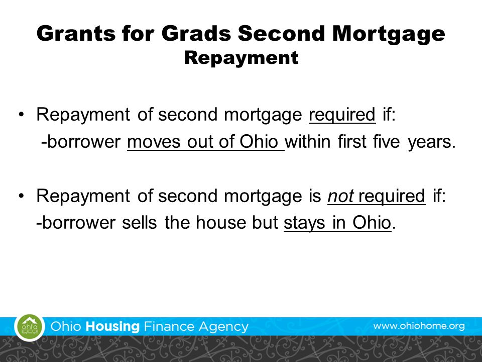 Grants for Grads Second Mortgage Repayment Repayment of second mortgage required if: -borrower moves out of Ohio within first five years.