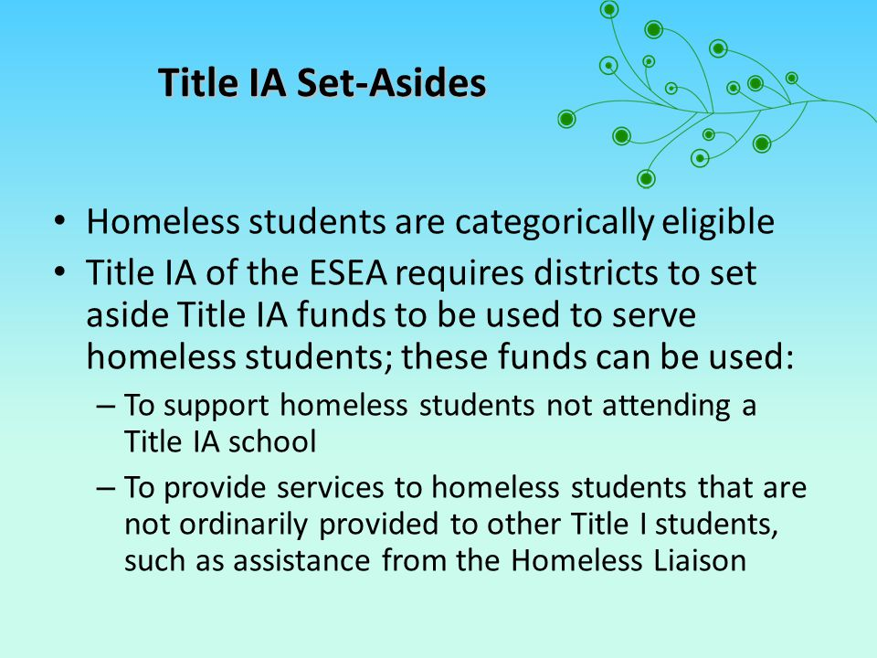 The Title IA Set-Aside: Using the Funds o Must be used to support the academic achievement of the child or youth o Can include services provided by Liaisons o Tutoring (including in schools, shelters, motels, and other places where homeless students live) o Transportation to participate in before or afterschool activities o Health, nutrition, and other social services, if not available from any other source (including basic needs, such as eyeglasses and/or hearing aids)