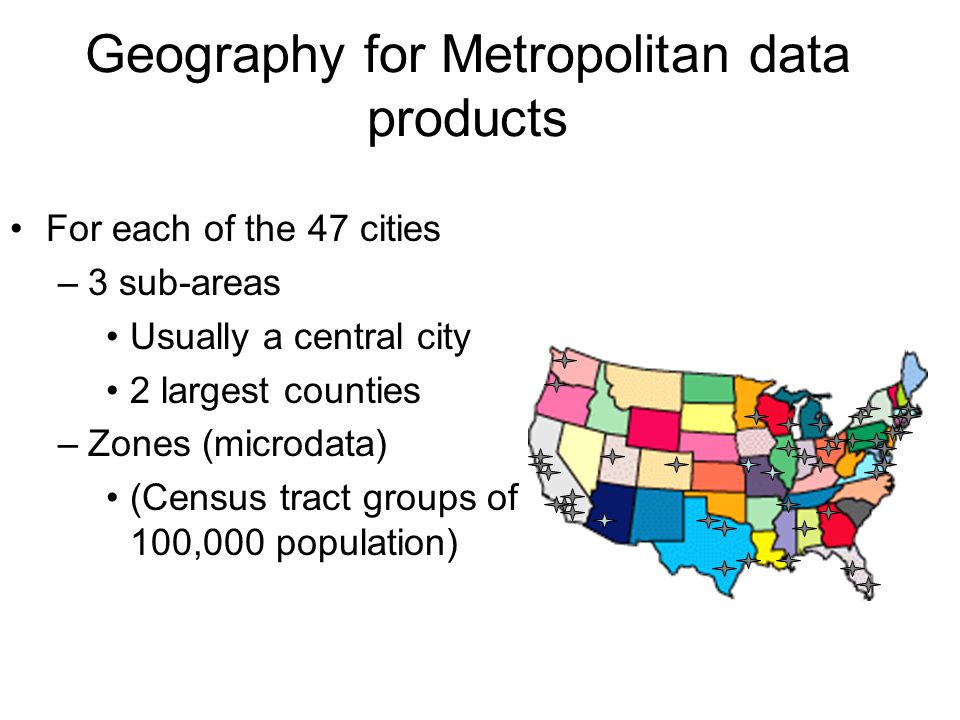 Geography for Metropolitan data products For each of the 47 cities –3 sub-areas Usually a central city 2 largest counties –Zones (microdata) (Census t