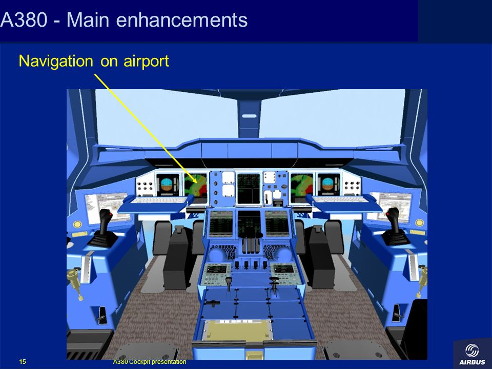 A380 Cockpit presentation 15 A380 - Main enhancements Navigation on airport