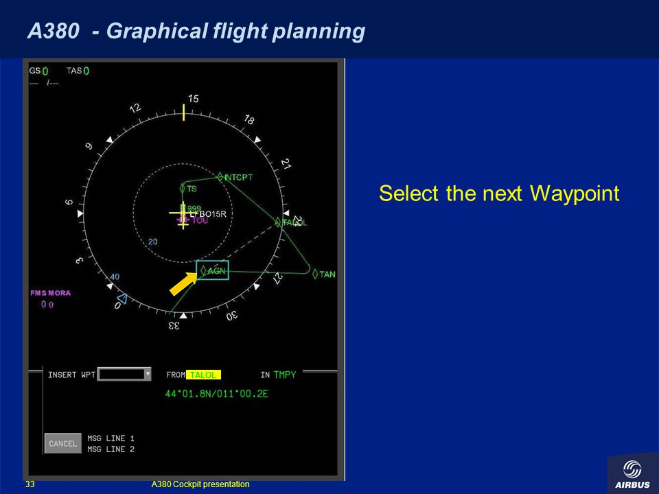 A380 Cockpit presentation 33 A380 - Graphical flight planning TALOL Select the next Waypoint