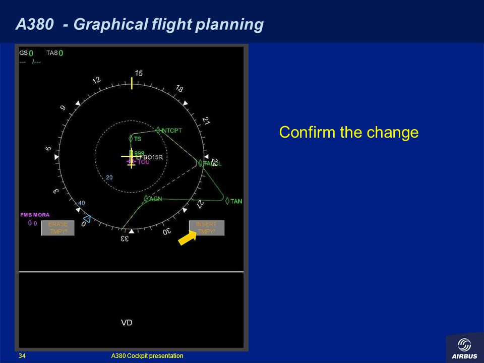A380 Cockpit presentation 34 A380 - Graphical flight planning Confirm the change