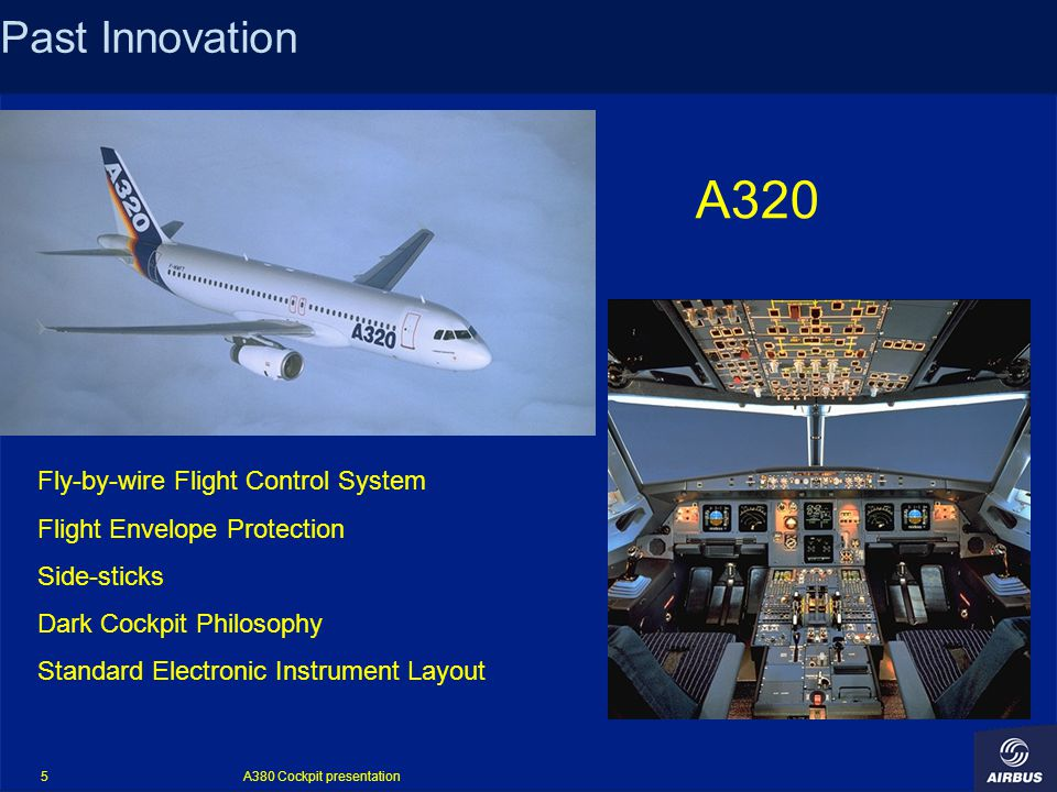A380 Cockpit presentation 5 Past Innovation Fly-by-wire Flight Control System Flight Envelope Protection Side-sticks Dark Cockpit Philosophy Standard Electronic Instrument Layout A320