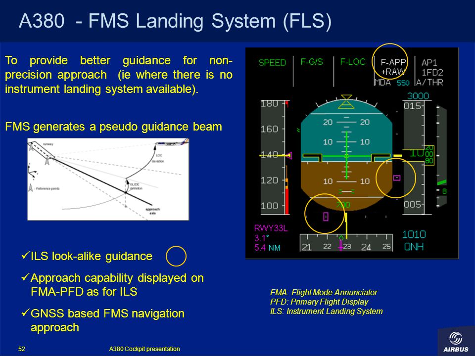 A380 Cockpit presentation 52 A380 - FMS Landing System (FLS) To provide better guidance for non- precision approach (ie where there is no instrument landing system available).