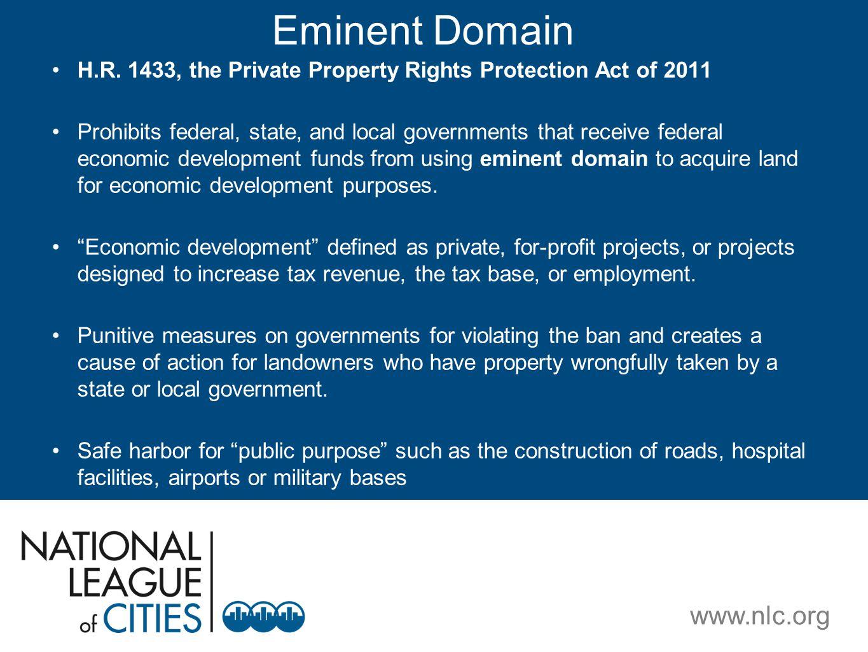 www.nlc.org Eminent Domain H.R.