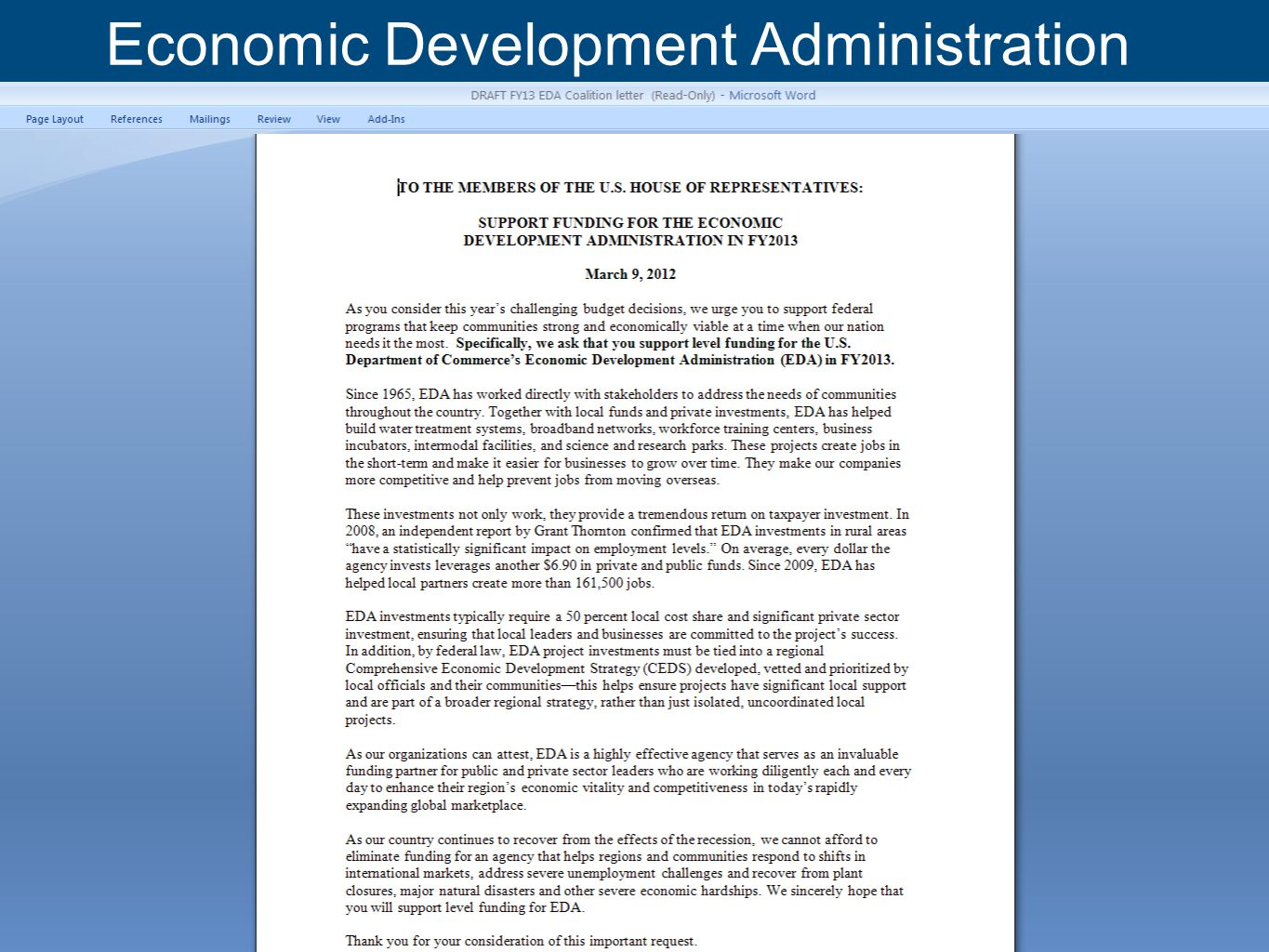 www.nlc.org Economic Development Administration