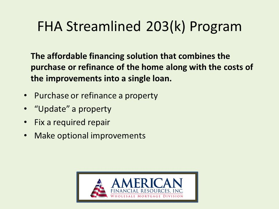 Printables Fha Streamline Refinance Worksheet fha streamlined 203k review what is the program purchase or refinance a property a