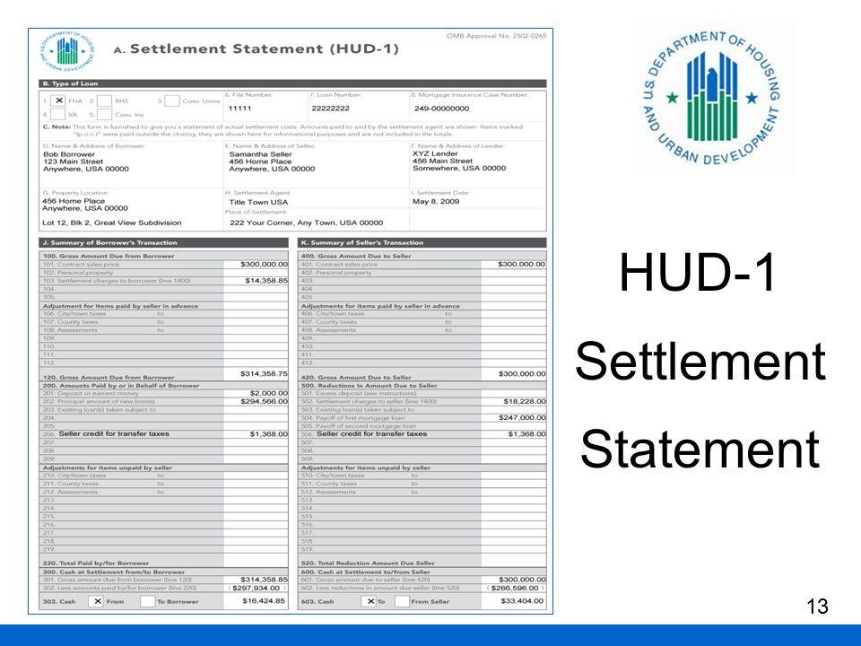 HUD-1 Settlement Statement 13