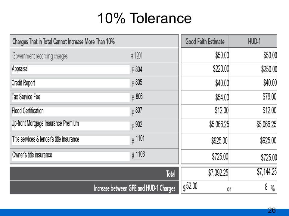 10% Tolerance 26