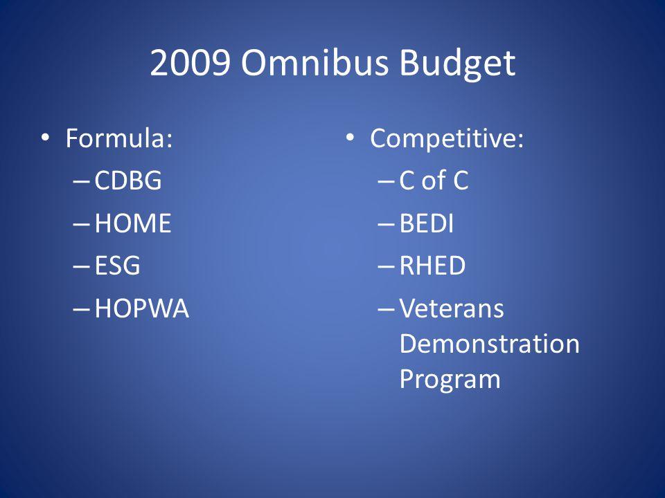 2009 Omnibus Budget Formula: – CDBG – HOME – ESG – HOPWA Competitive: – C of C – BEDI – RHED – Veterans Demonstration Program