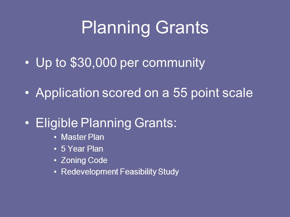 Tier 2 Maximum of $100,000 in CDBG funding Applications scored on an 85 point scale Eligible projects must meet ONE National Objective Applicant may choose either Low Moderate Income Benefit OR Improvement Target Area benefit RESIDENTIAL/HOUSING IMPROVEMENTS ARE INELIGIBLE PROGRAMMING IS INELIGIBLE
