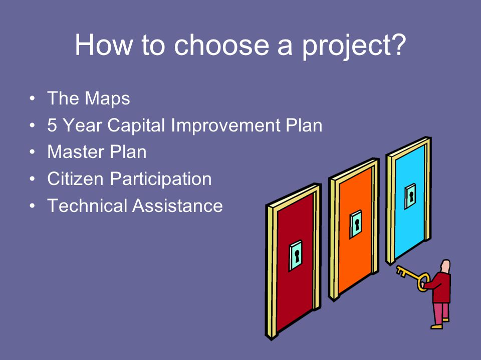 What 2 types of project are ineligible through the Department of Development.