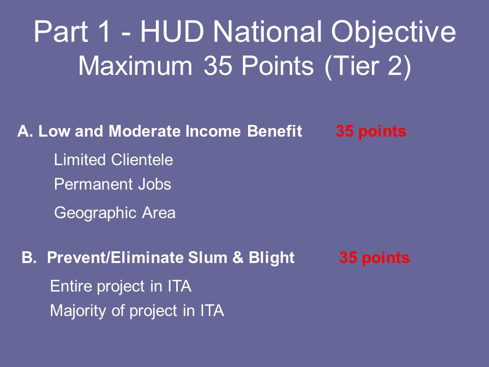 Part 1 - HUD National Objective Maximum 45 Points (Tier 1) A.