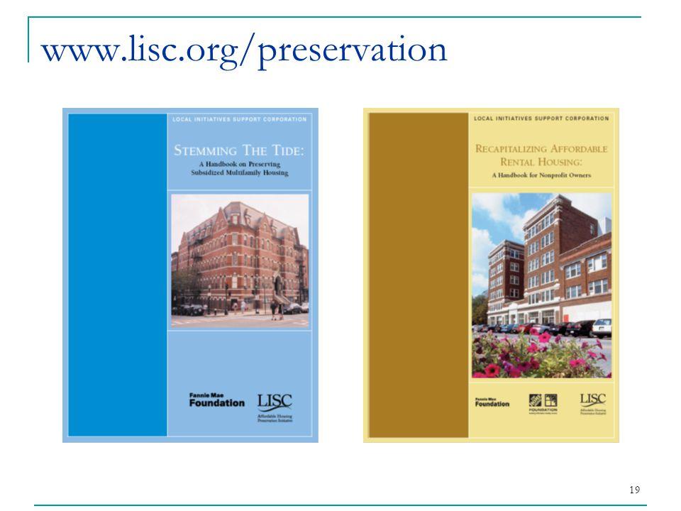 19 www.lisc.org/preservation
