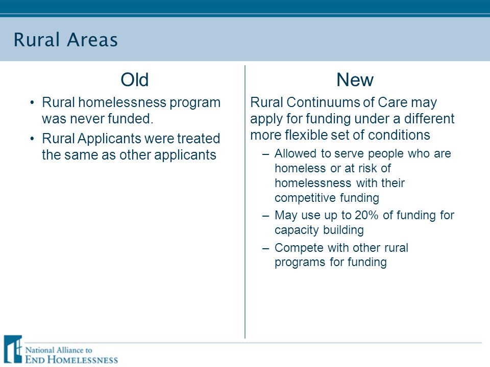 Rural Areas Old Rural homelessness program was never funded. Rural Applicants were treated the same as other applicants New Rural Continuums of Care m