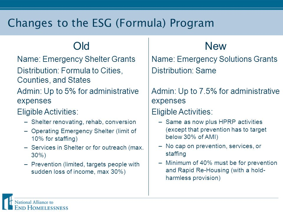 Changes to the ESG (Formula) Program Old Name: Emergency Shelter Grants Distribution: Formula to Cities, Counties, and States Admin: Up to 5% for admi