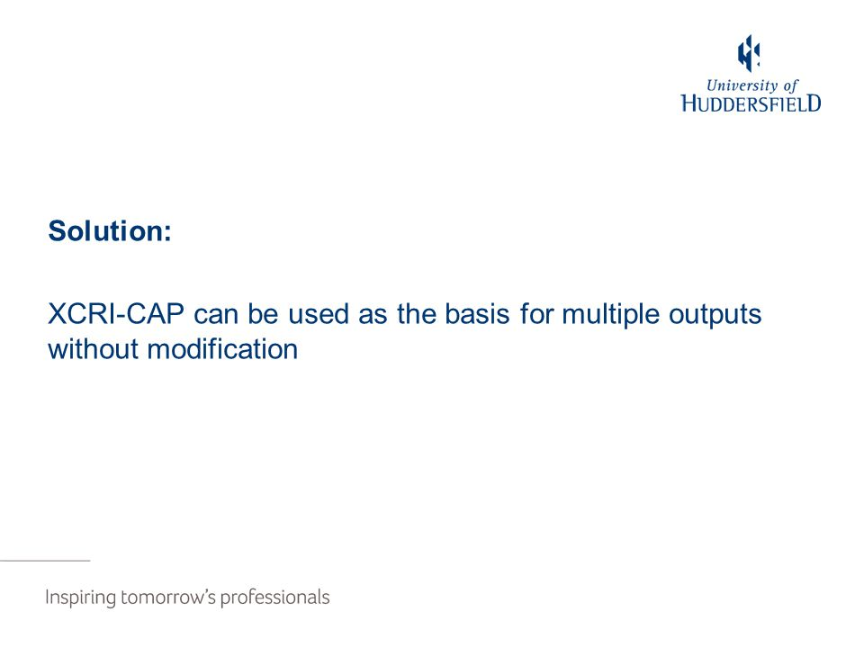 Solution: XCRI-CAP can be used as the basis for multiple outputs without modification