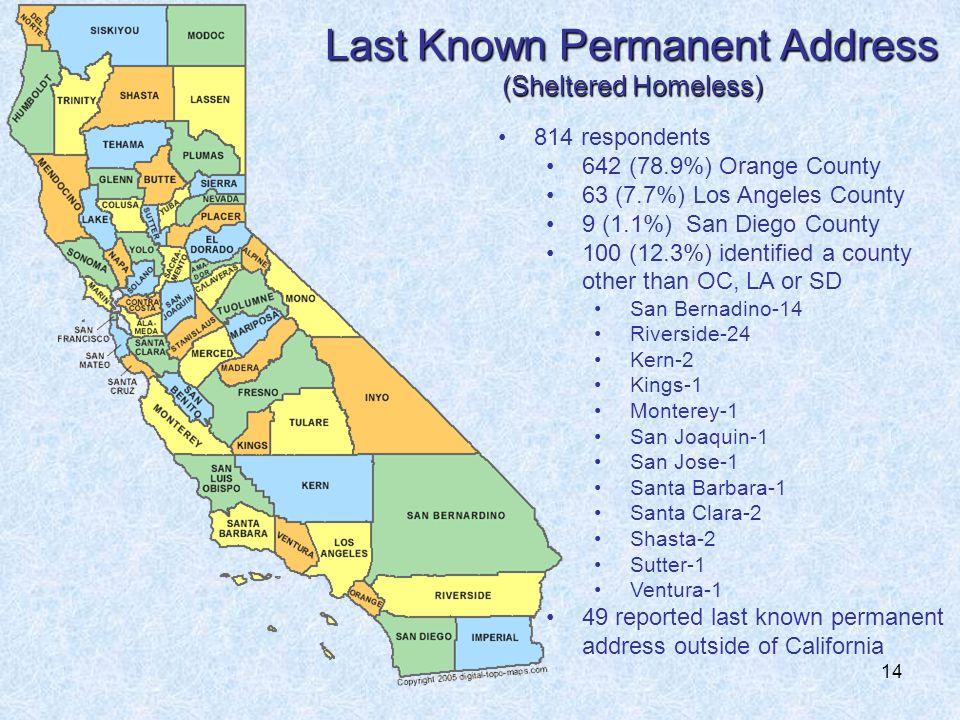 14 Last Known Permanent Address (Sheltered Homeless) 814 respondents 642 (78.9%) Orange County 63 (7.7%) Los Angeles County 9 (1.1%) San Diego County 100 (12.3%) identified a county other than OC, LA or SD San Bernadino-14 Riverside-24 Kern-2 Kings-1 Monterey-1 San Joaquin-1 San Jose-1 Santa Barbara-1 Santa Clara-2 Shasta-2 Sutter-1 Ventura-1 49 reported last known permanent address outside of California