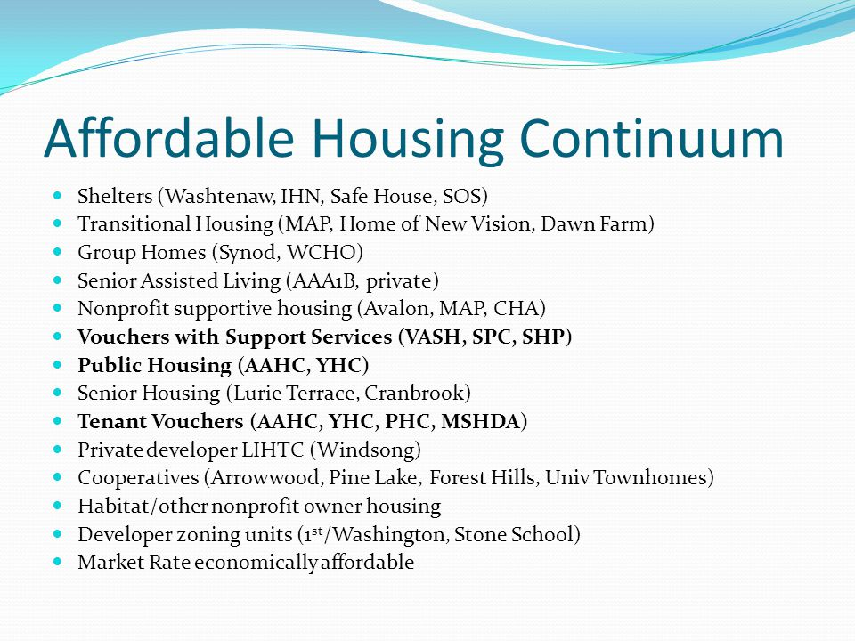 Affordable Housing Continuum Shelters (Washtenaw, IHN, Safe House, SOS) Transitional Housing (MAP, Home of New Vision, Dawn Farm) Group Homes (Synod,