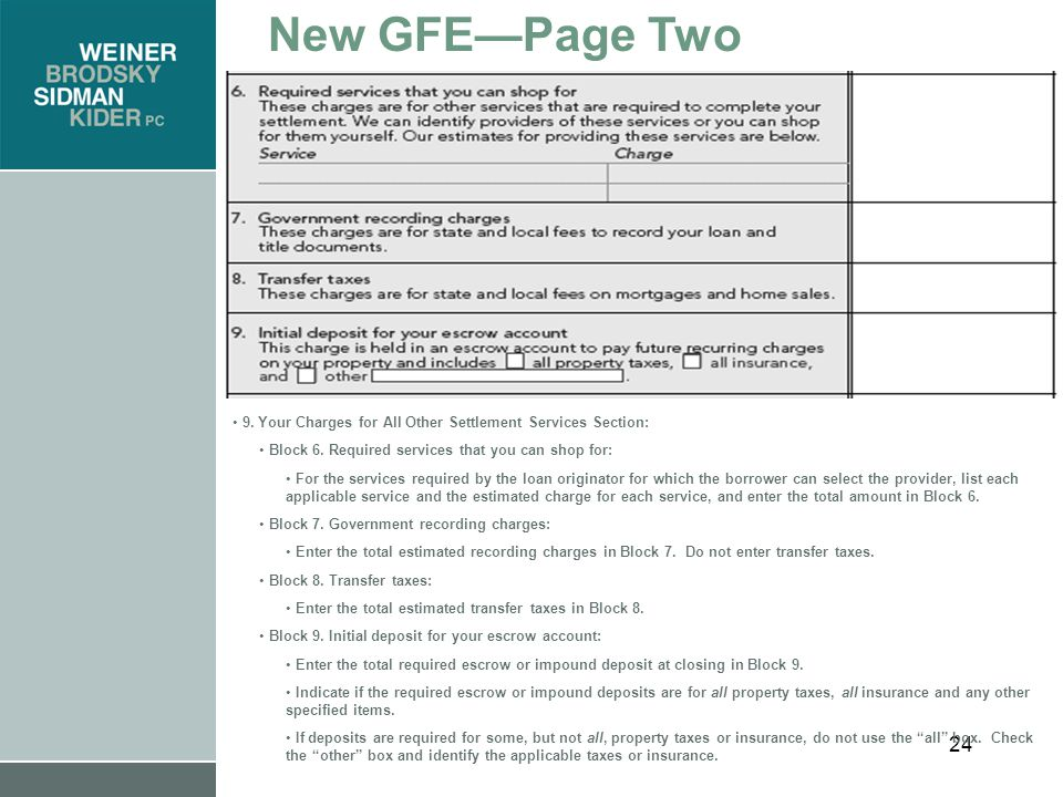 24 New GFE—Page Two 9. Your Charges for All Other Settlement Services Section: Block 6.