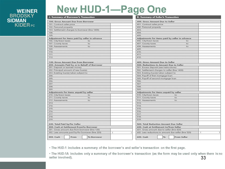 33 New HUD-1—Page One The HUD-1 includes a summary of the borrower's and seller's transaction on the first page.