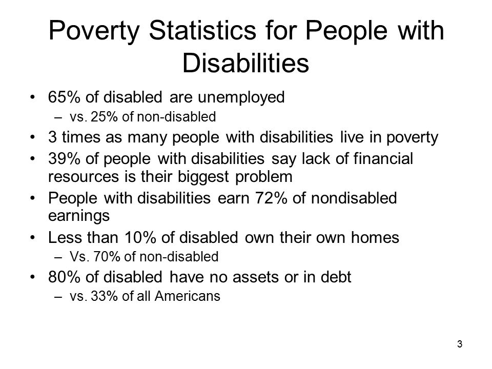 Poverty Statistics for People with Disabilities 65% of disabled are unemployed –vs.