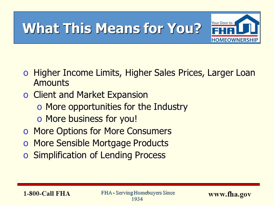 www.fha.gov 1-800-Call FHA FHA - Serving Homebuyers Since 1934 What This Means for You.