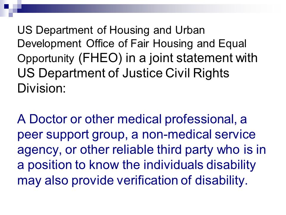 US Department of Housing and Urban Development Office of Fair Housing and Equal Opportunity (FHEO) in a joint statement with US Department of Justice