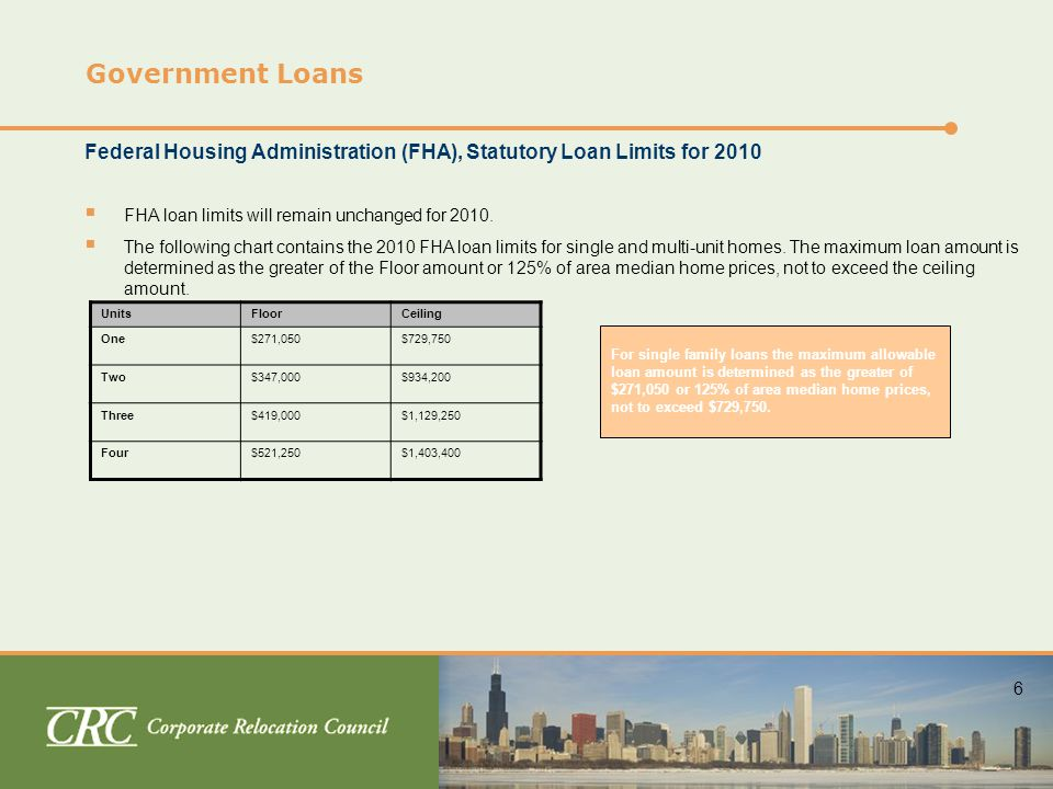 6 Government Loans Federal Housing Administration (FHA), Statutory Loan Limits for 2010  FHA loan limits will remain unchanged for 2010.