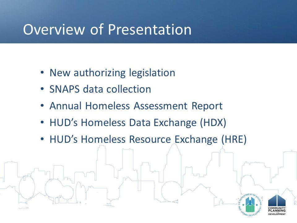 Overview of Presentation New authorizing legislation SNAPS data collection Annual Homeless Assessment Report HUD's Homeless Data Exchange (HDX) HUD's