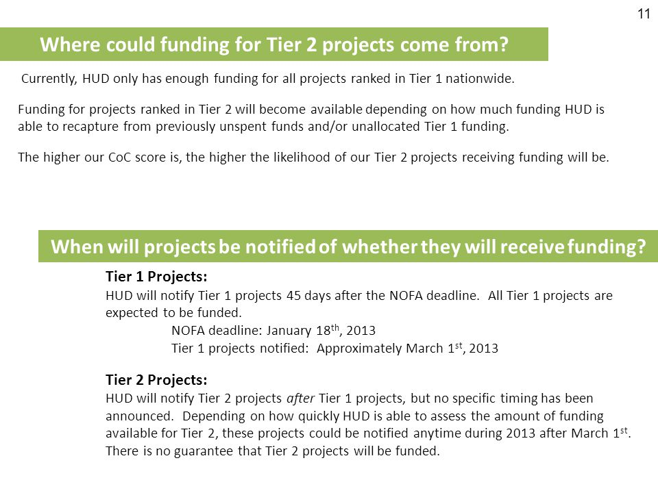Where could funding for Tier 2 projects come from.