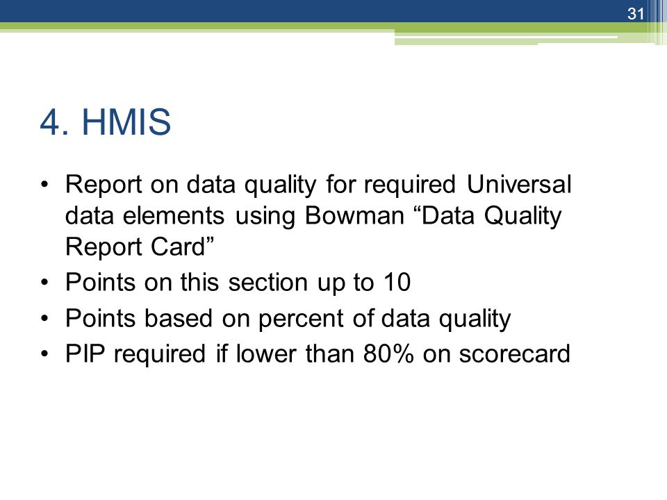 """4. HMIS Report on data quality for required Universal data elements using Bowman """"Data Quality Report Card"""" Points on this section up to 10 Points bas"""