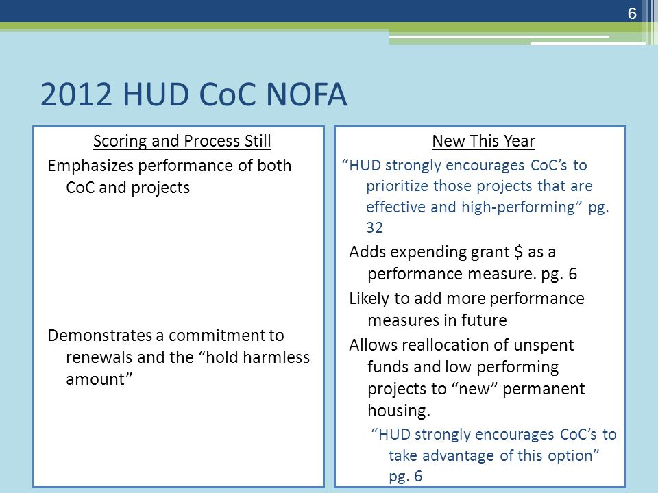 2012 HUD CoC NOFA Scoring and Process Still Emphasizes performance of both CoC and projects Demonstrates a commitment to renewals and the hold harmless amount New This Year HUD strongly encourages CoC's to prioritize those projects that are effective and high-performing pg.