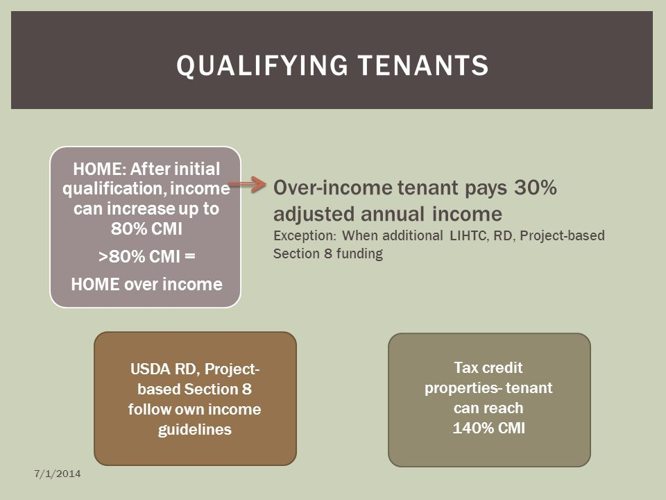 QUALIFYING TENANTS HOME: After initial qualification, income can increase up to 80% CMI >80% CMI = HOME over income Over-income tenant pays 30% adjusted annual income Exception: When additional LIHTC, RD, Project-based Section 8 funding Tax credit properties- tenant can reach 140% CMI USDA RD, Project- based Section 8 follow own income guidelines 7/1/2014
