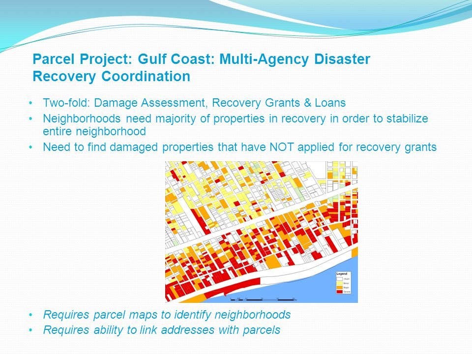 Parcel Project: Gulf Coast: Multi-Agency Disaster Recovery Coordination Two-fold: Damage Assessment, Recovery Grants & Loans Neighborhoods need majority of properties in recovery in order to stabilize entire neighborhood Need to find damaged properties that have NOT applied for recovery grants Requires parcel maps to identify neighborhoods Requires ability to link addresses with parcels