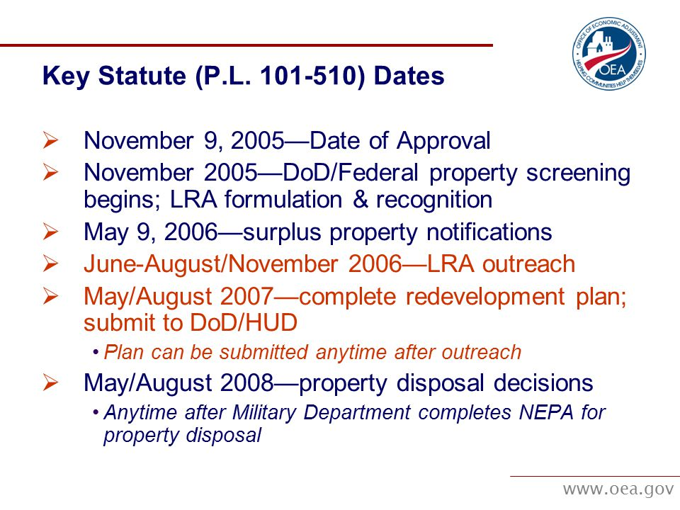 www.oea.gov Key Statute (P.L.