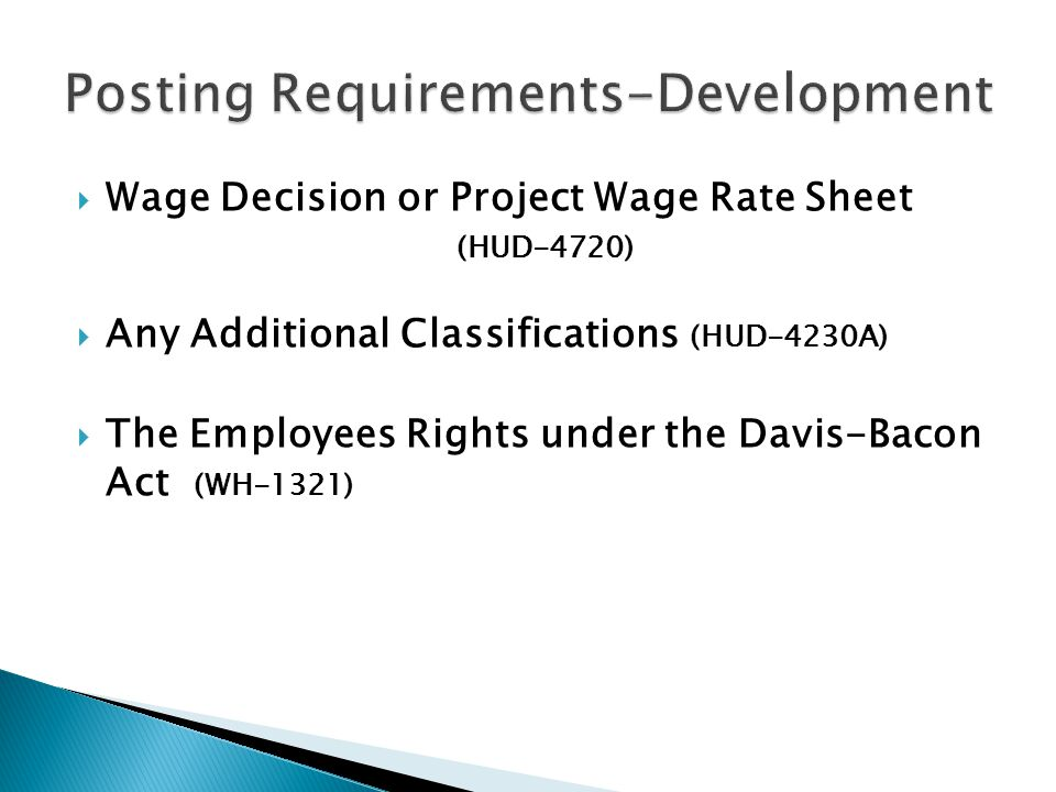  Wage Decision or Project Wage Rate Sheet (HUD-4720)  Any Additional Classifications (HUD-4230A)  The Employees Rights under the Davis-Bacon Act (WH-1321)