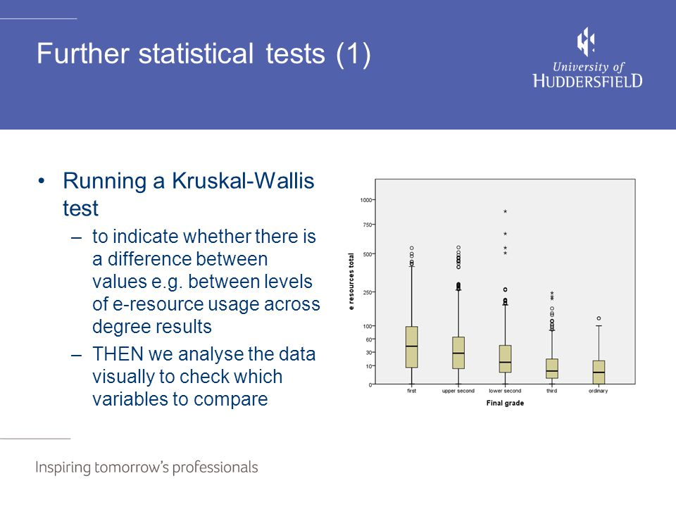 Further statistical tests (1) Running a Kruskal-Wallis test –to indicate whether there is a difference between values e.g.