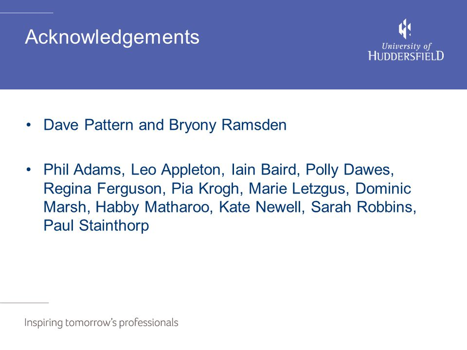 Acknowledgements Dave Pattern and Bryony Ramsden Phil Adams, Leo Appleton, Iain Baird, Polly Dawes, Regina Ferguson, Pia Krogh, Marie Letzgus, Dominic Marsh, Habby Matharoo, Kate Newell, Sarah Robbins, Paul Stainthorp